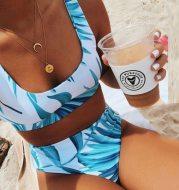 Women's split printed sports vest bikini