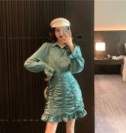 Ruffled pleated bag hip dress