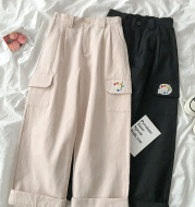 High waist wide leg cropped pants