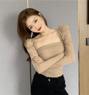 One-shoulder pleated long-sleeved T-shirt