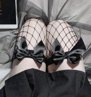 Bowknot long tube fishnet socks