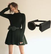 Patchwork color square round waist bag