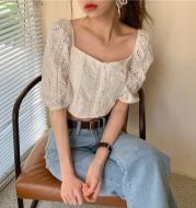 Bubble sleeve short lace top shirt