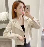 Double breasted waist long sleeve short coat