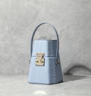 Trapezoid leather box bag