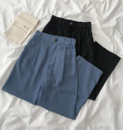 Solid color high-waisted suit pants