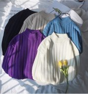 Solid color turtleneck vertical stripe sweater