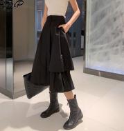 Irregular skirt with high waist and slim tooling