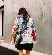 Fashion Jean jacket in graffiti print