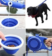 Dog Leash Automatic Retractable with Water Bottle Bowl