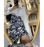 High-waist printed hem irregular design slim fit slim hip skirt