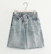 Women's high waist strap denim shorts