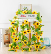 Fake Silk Sunflower Decoration with Green Leaves