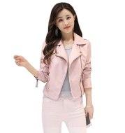 Women's short slim pink leather jacket