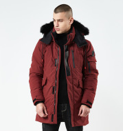 Men's mid-length hooded jacket