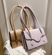 Pure color soft shoulder bag