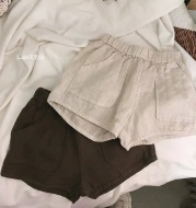 Children's linen large pocket casual shorts