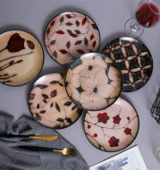 Floral round ceramic dinner plate