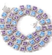 10mm square color blue purple zircon necklace