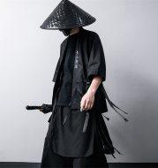 Guochao dark black wide leg pants skirt