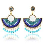 Fan-shaped tassel rice bead earrings