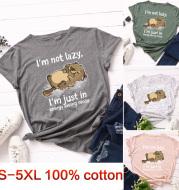 Summer ladies thin cat print t-shirt