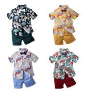 Two-piece boy short sleeve printed shirt