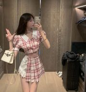 Two-piece pleated skirt and plaid top