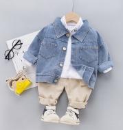 Three-piece baby denim jacket