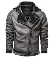 Winter lapel leather jacket plus velvet thick casual