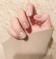 Light khaki smudge false nails