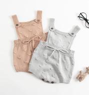Baby knitted suspenders romper