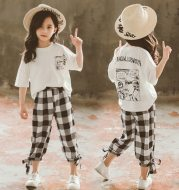 Two-piece printed plaid cropped trousers