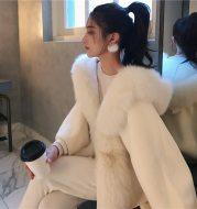 Loose cape coat fur cape woolen coat
