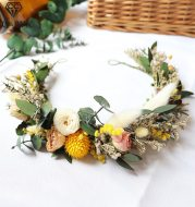 Dry flower wreath bridal headdress