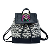 Striped embroidered backpack