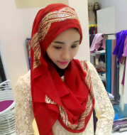Muslim Chiffon sprinkled gold long scarf