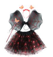Halloween Red Spider Skirt Wings Net Gauze Skirt 4-piece Set