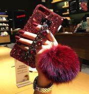 Diamond hair ball bracelet phone case