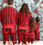 Printed plaid jumpsuit family clothing