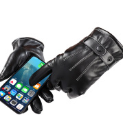 Touch screen leather gloves waterproof full finger