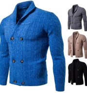 Solid color thick knitted cardigan