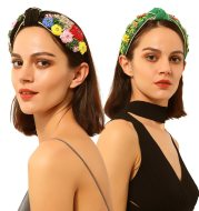 Colorful floral knotted temperament headband