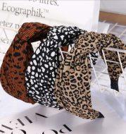 Leopard print black and white dot headband cross headband