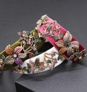 Fashion diamond colored flower headband