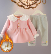 Two piece girls'' Autumn style baby princess Plush 1-3 year old suit