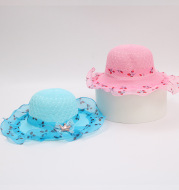 Princess straw hat kids sun hat