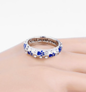 Dog paw diamond ring necklace