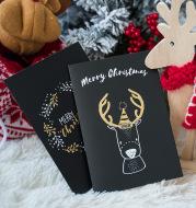 Black folding greeting card