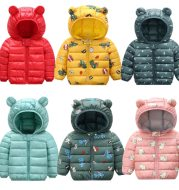 Children's cotton-padded jacket with thin ears down jacket
